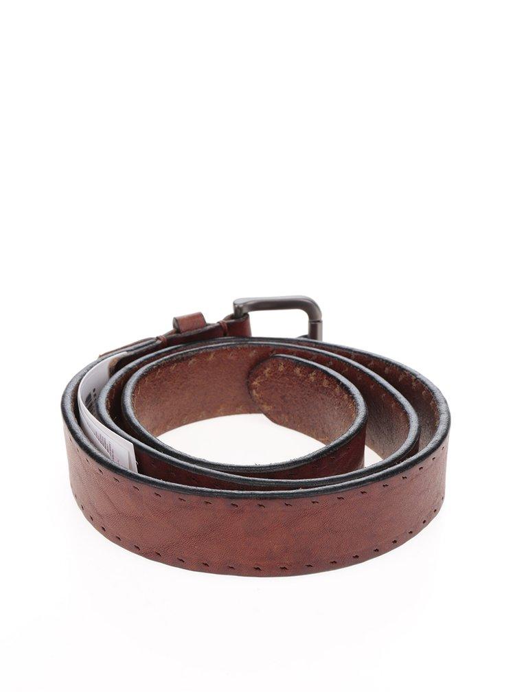 Hnědý vzorovaný kožený pásek Selected Homme Belt