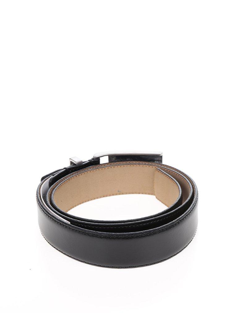 Černý kožený pásek s kovovou sponou Selected Homme Belt