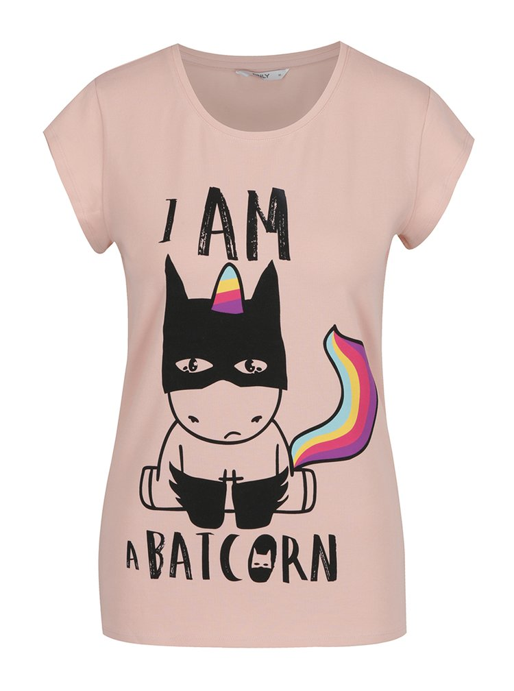 Tricou roz cu print funny multicolor ONLY Unicorn