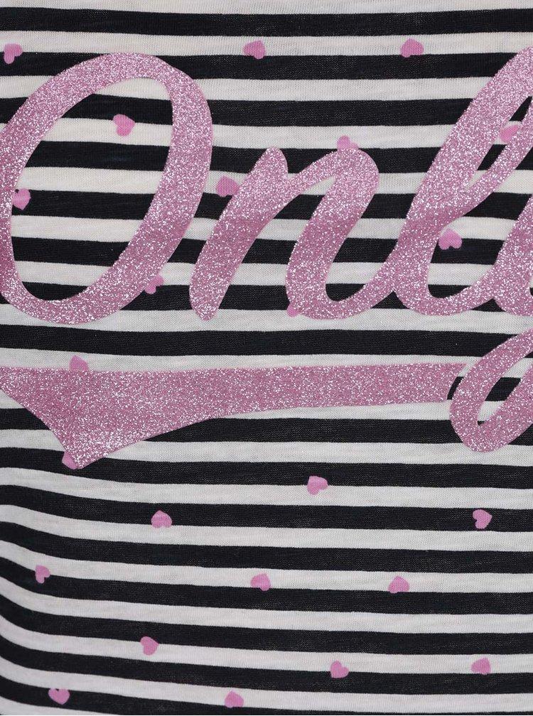Tricou cu dungi si logo roz ONLY Tessa