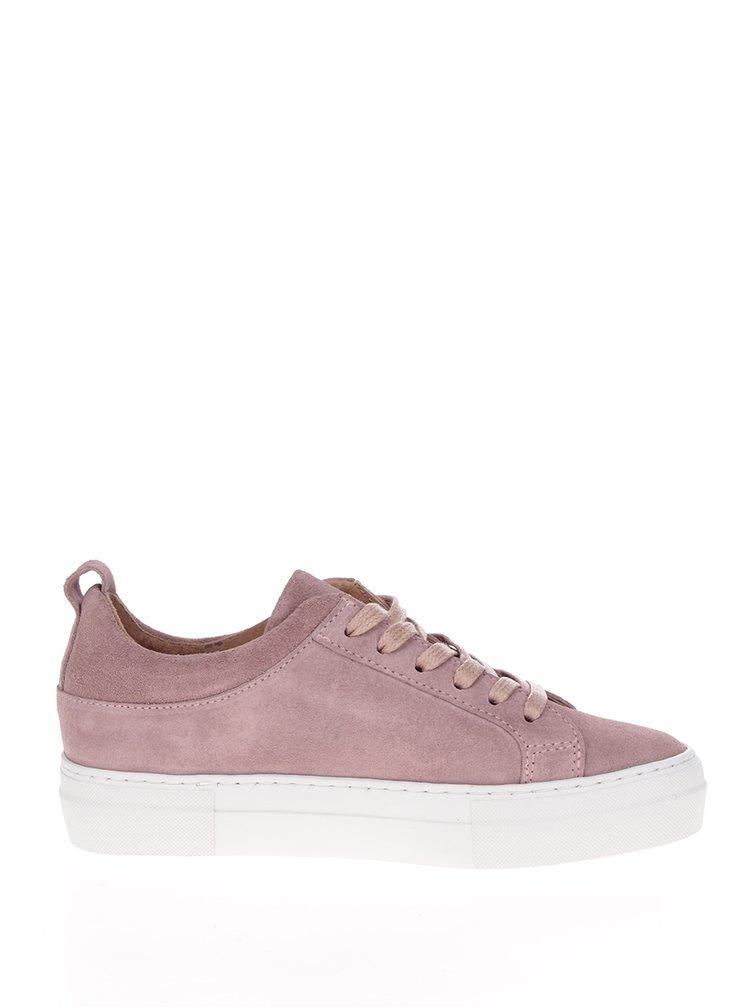 Pantofi sport roz din piele întoarsă cu platformă Pieces Paulina