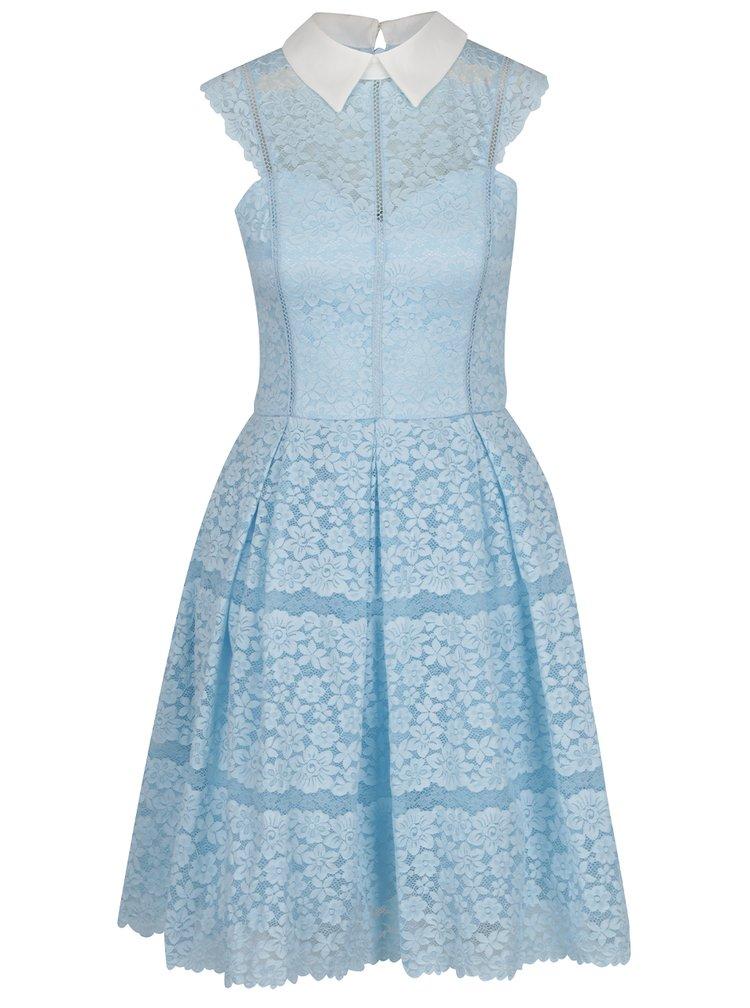 Světle modré krajkové šaty s límečkem Chi Chi London