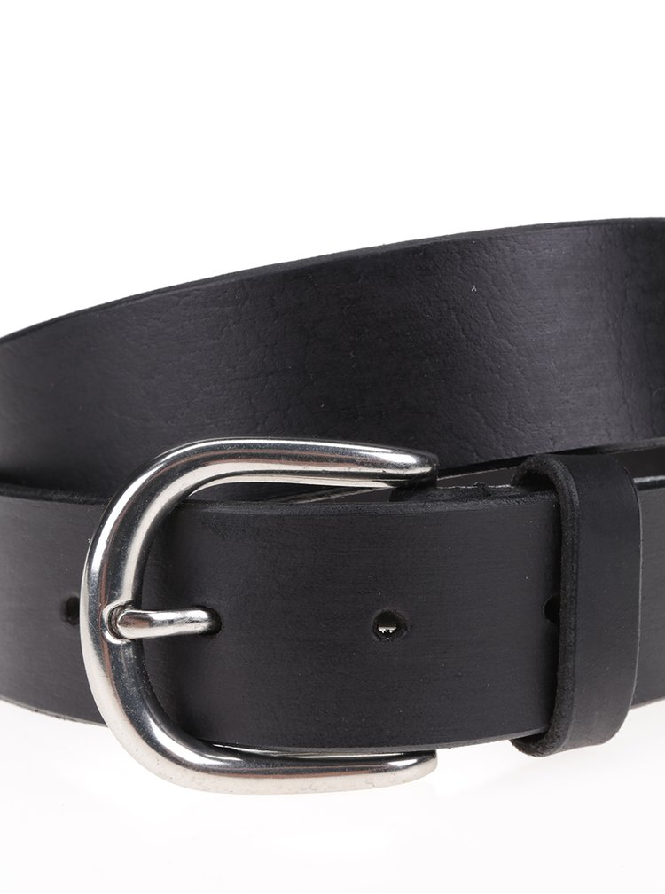Černý kožený pásek s přezkou v šedé barvě Pieces Natalie