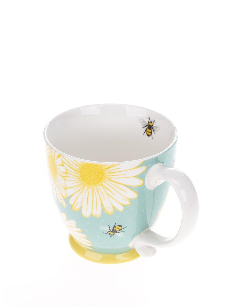Modrý hrnek s potiskem včel a květin CGB