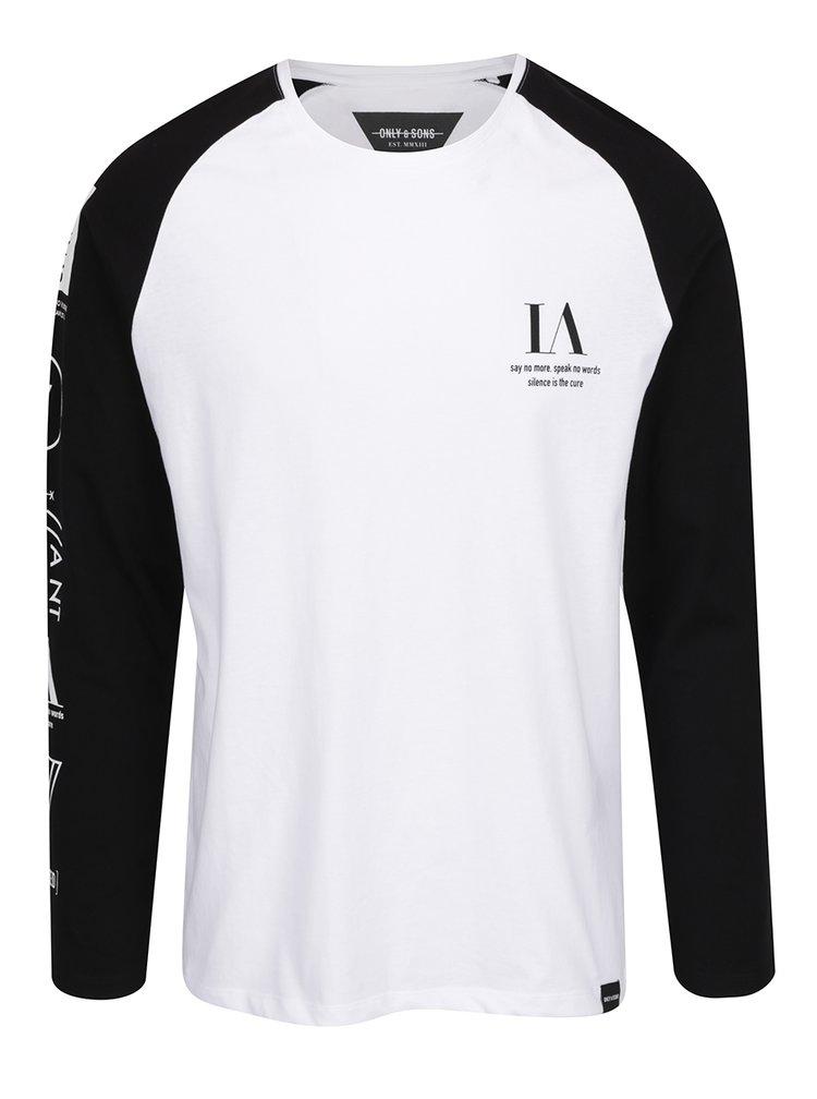 Černo-bílé triko s dlouhým rukávem Only & Sons Lance