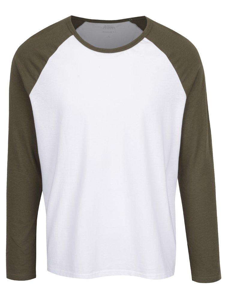 Zeleno-bílé triko s dlouhým rukávem Burton Menswear London
