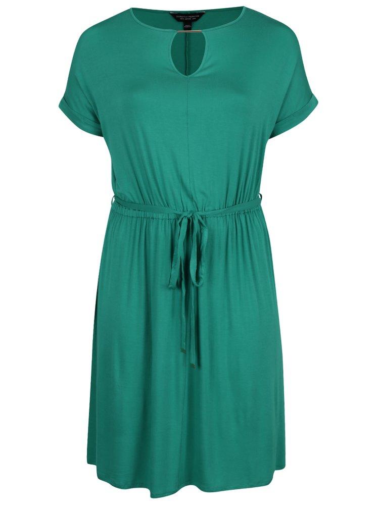Zelené šaty s detailmi v zlatej farbe Dorothy Perkins Curve