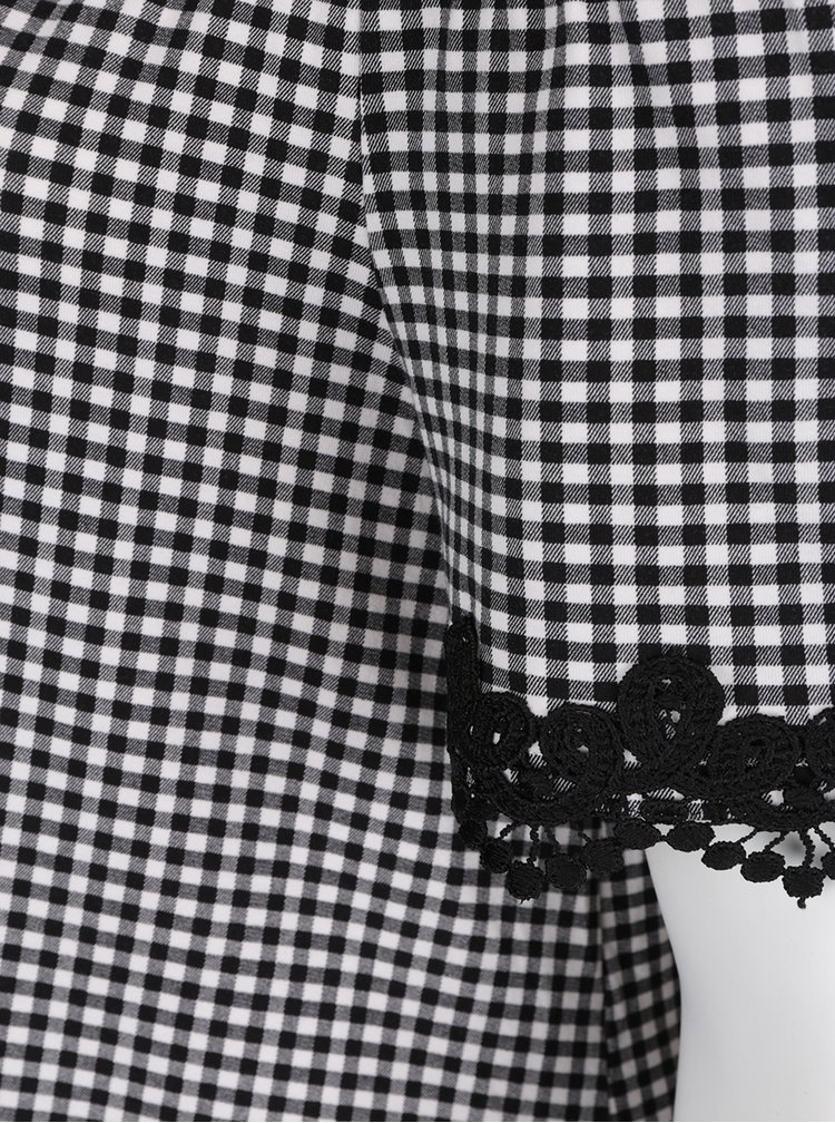 Černá kostkovaná halenka s odhalenými rameny Dorothy Perkins Curve