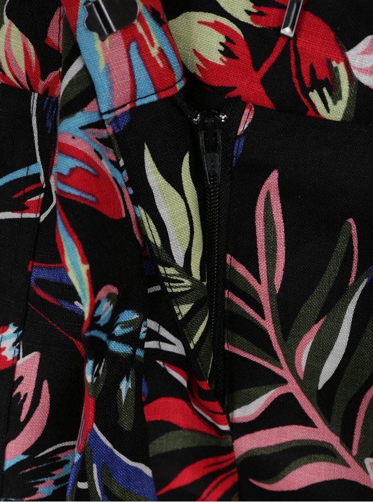 Černé lněné květované kraťasy s vysokým pasem Dorothy Perkins