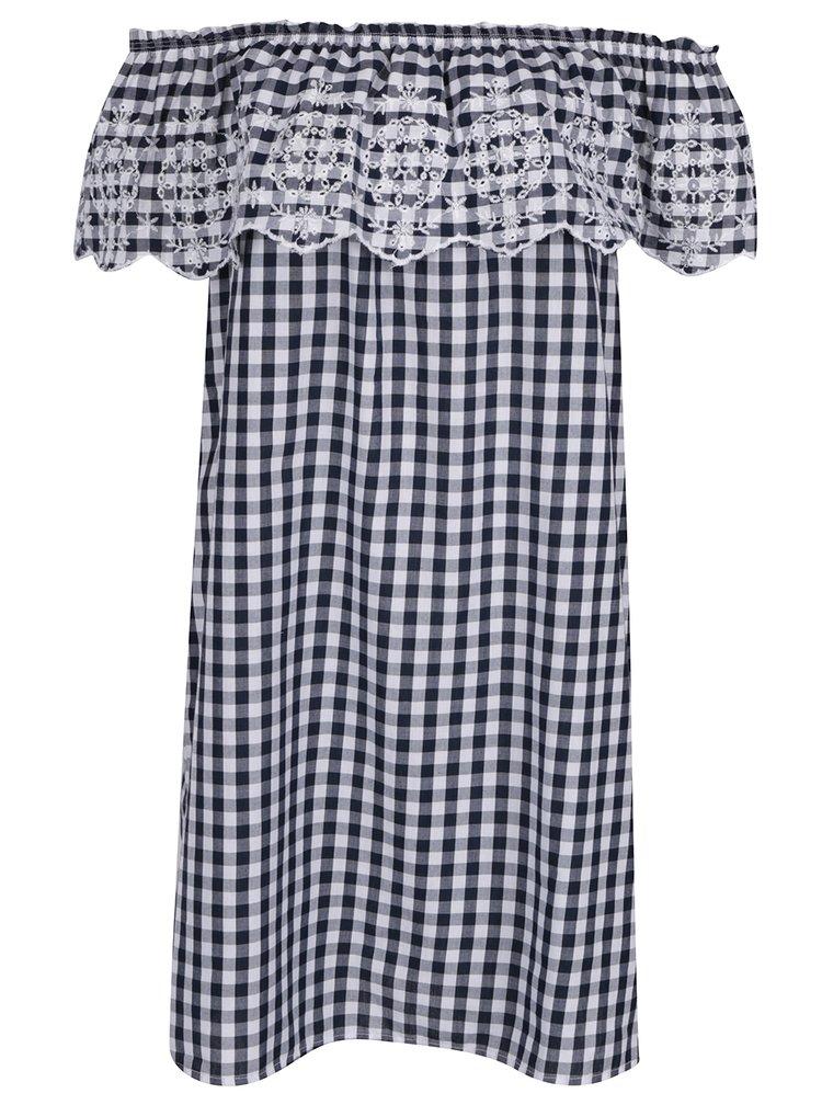Bílo-modré kostkované šaty s volánem a madeirou Dorothy Perkins