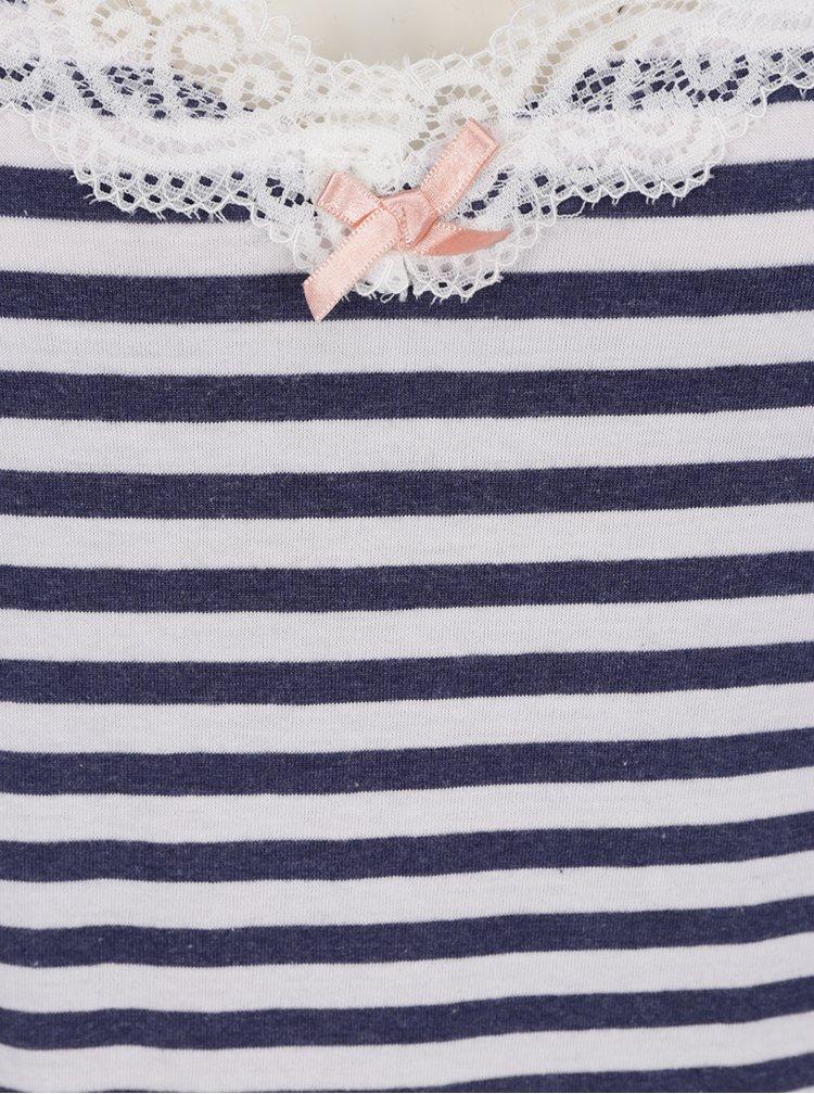 Modro-bílá pruhovaná noční košile s krajkou Dorothy Perkins