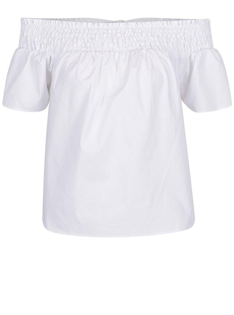 Bílá halenka s odhalenými rameny a mašlí na zádech Dorothy Perkins Petite