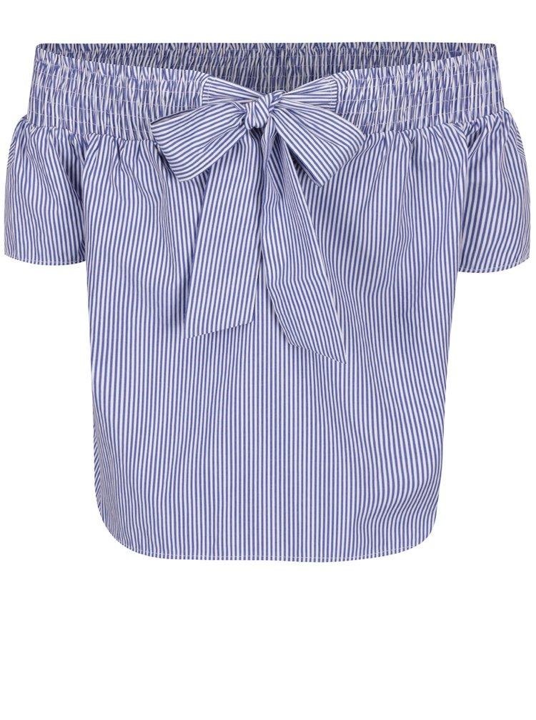 Modrá pruhovaná halenka s odhalenými rameny a mašlí na zádech Dorothy Perkins Petite