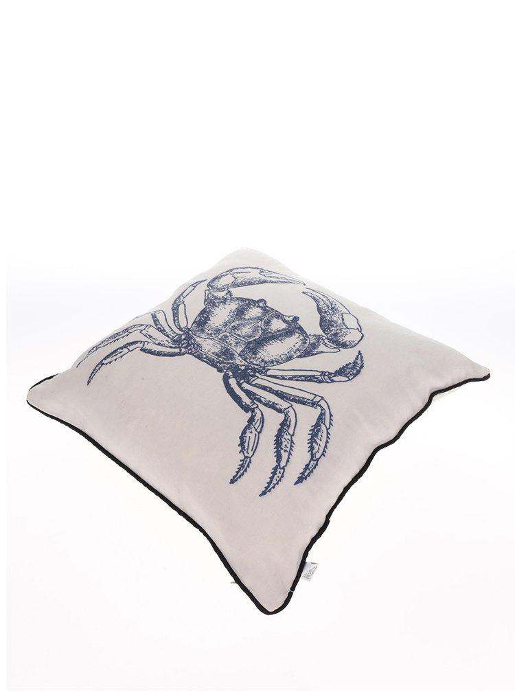 Krémový polštář s potiskem kraba Sass & Belle Vintage Sea