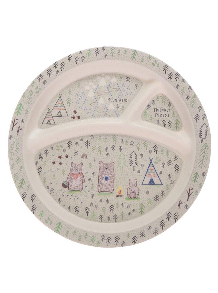 Krémový dětský talíř s motivem lesa Sass & Belle Bear Camp
