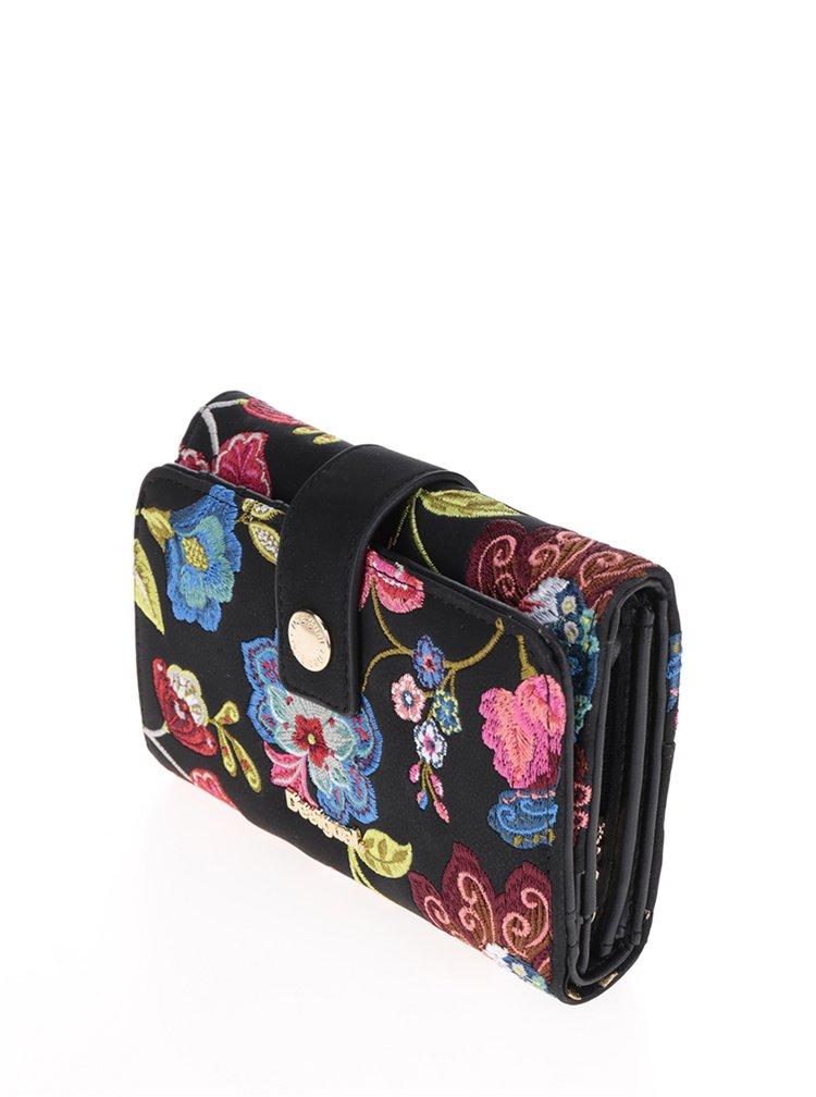 Černá peněženka s květinovým vzorem Desigual Caribou Lengüeta