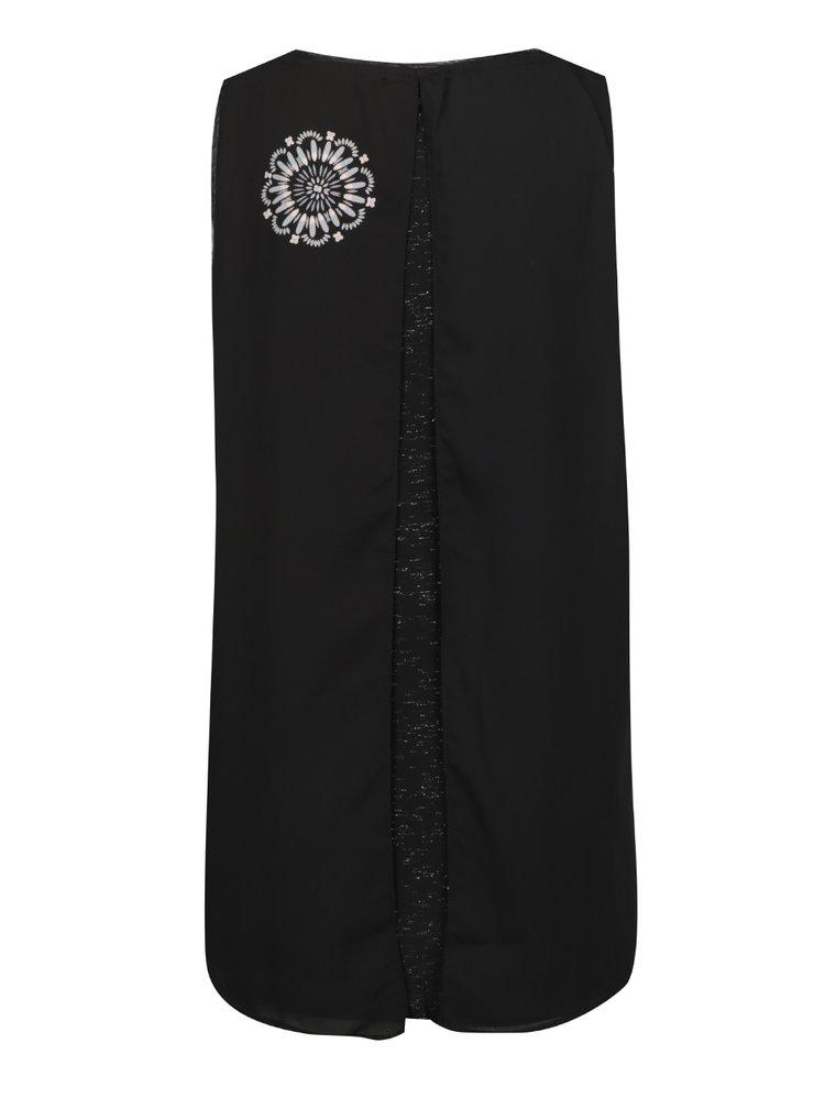 Top negru cu print bej și model suprapus Desigual Martin