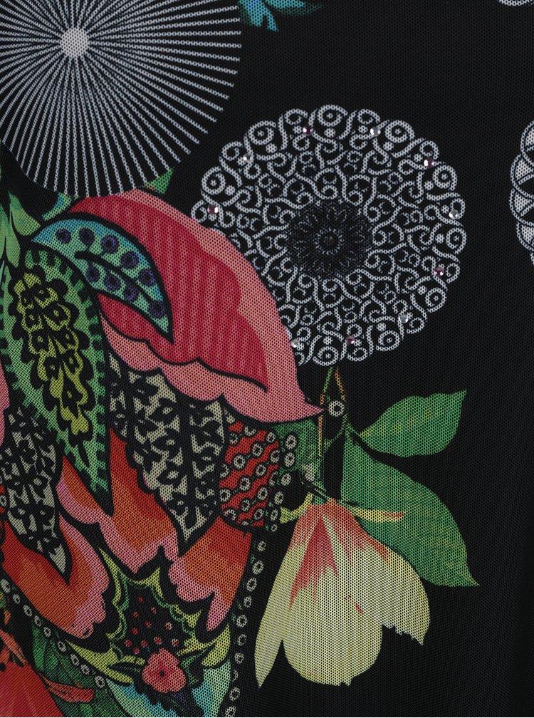 Černá květovaná halenka s 3/4 rukávem Desigual Valery