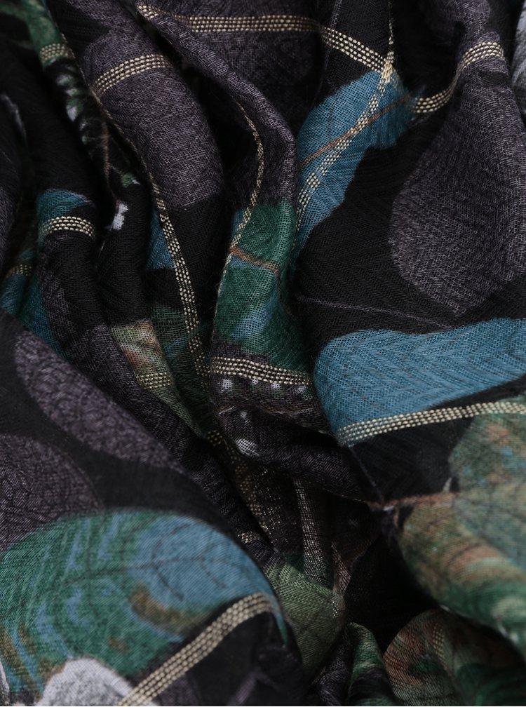 Krémovo-černý vzorovaný šátek Desigual Rectangle Troy