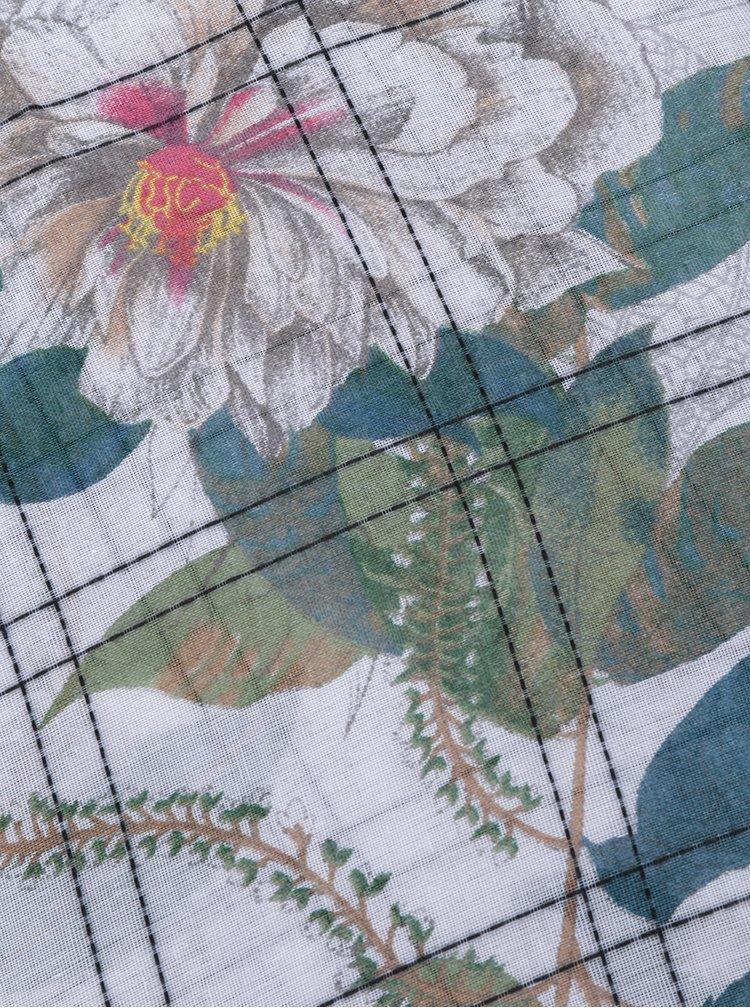 Zeleno-krémový vzorovaný šátek Desigual Rectangle Troy
