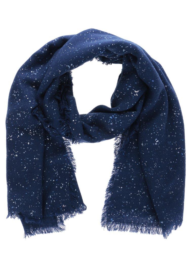 Esarfa bleumarin cu franjuri Desigual Rectangle Metal Splatter