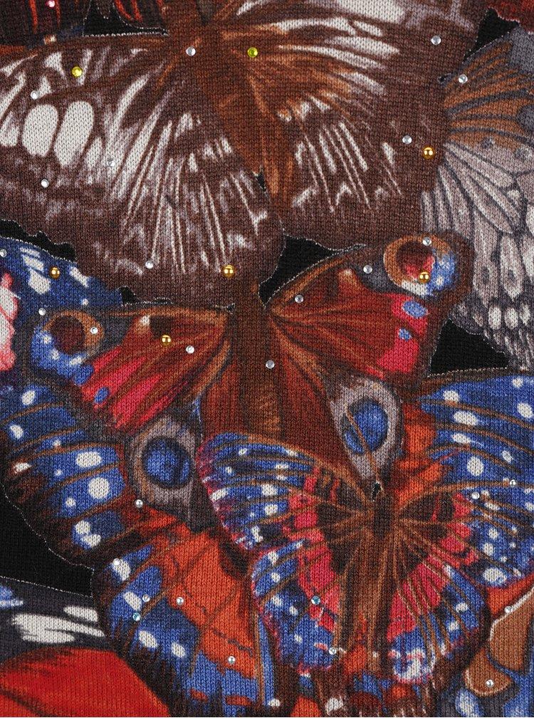Černý svetr s motivem motýlů Desigual Mery