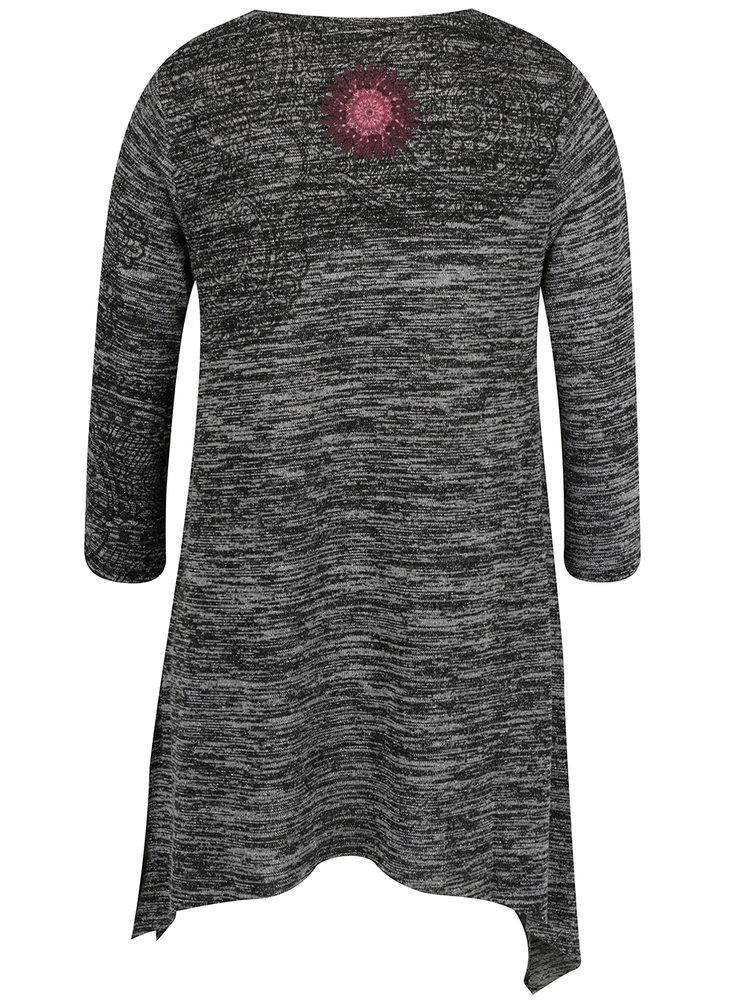 Bluză negru & gri Desigual asimetrică