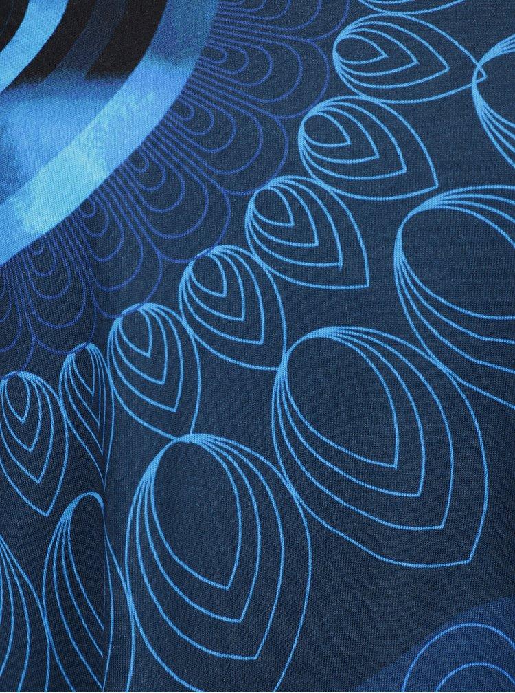 Modré tričko s 3/4 rukávem a potiskem Desigual Kohl