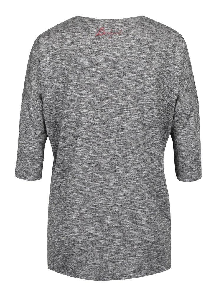 Šedé tričko s překládanou přední částí a potiskem Desigual Olivia