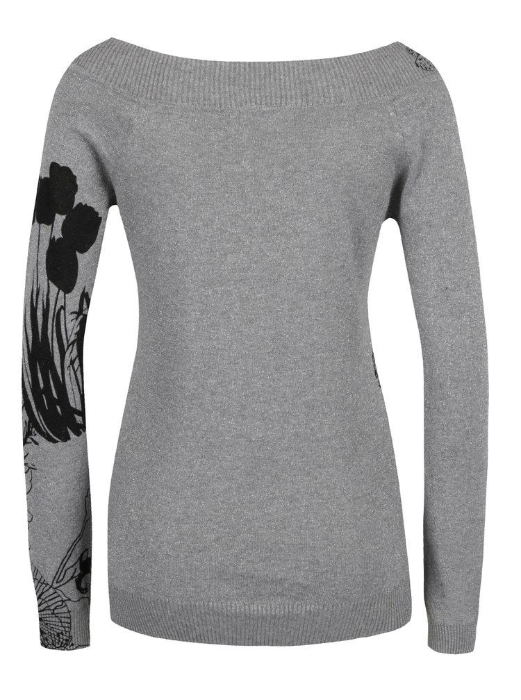 Šedý květovaný svetr s lodičkovým výstřihem Desigual See