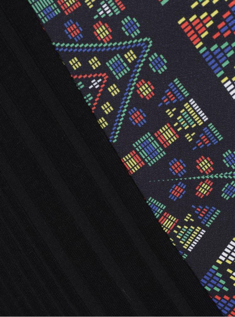 Černé vzorované asymetrické tričko Desigual Africa Pico