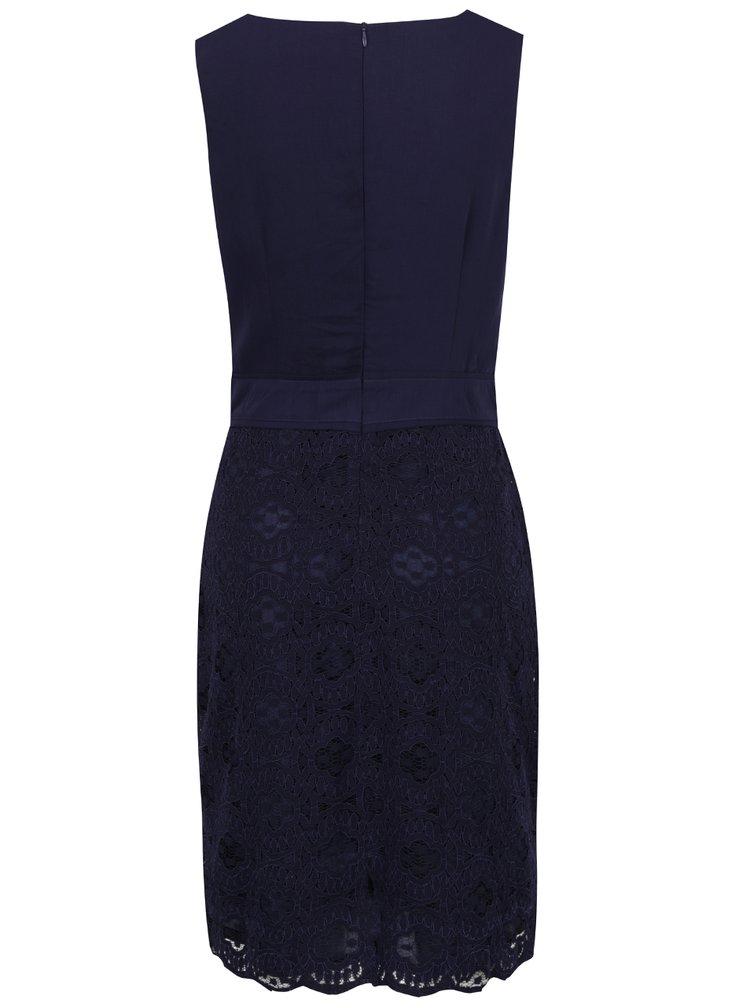 Tmavě modré šaty s krajkovou sukní a řasením v dekoltu Apricot