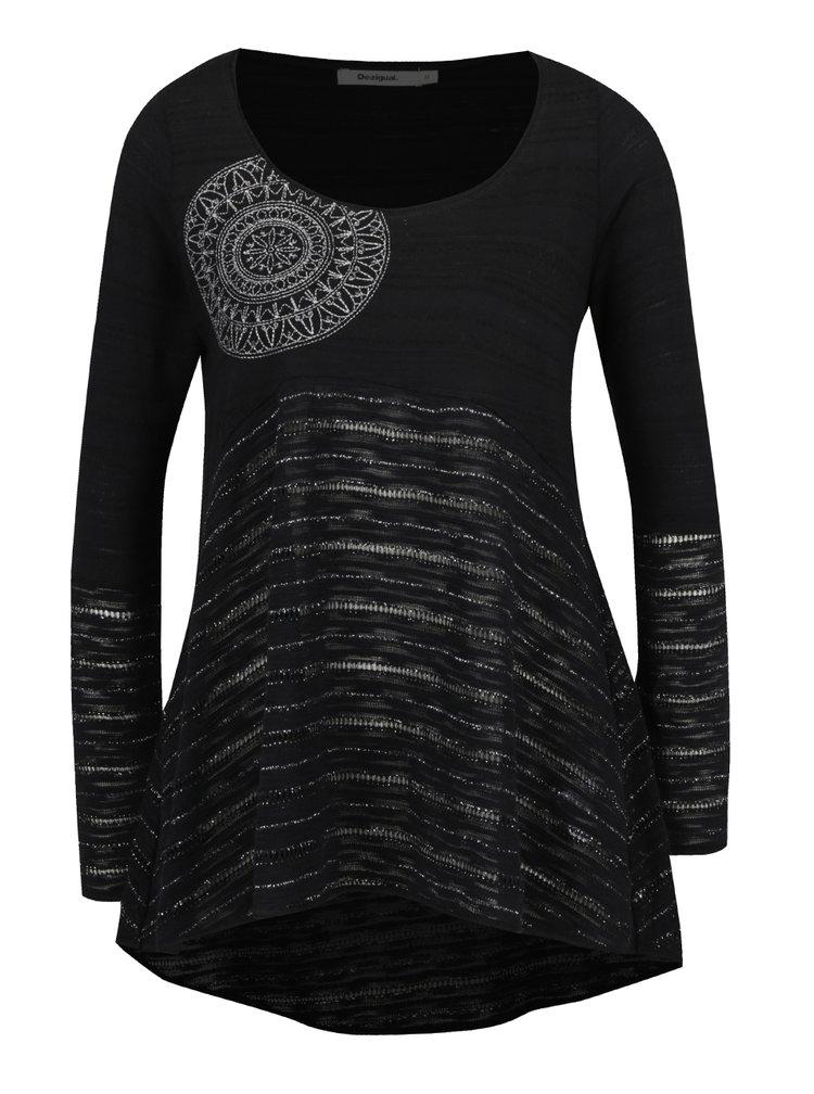 Černé volné tričko s dlouhým rukávem Desigual Noelia