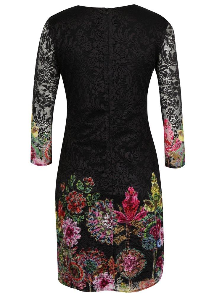 Rochie neagră din dantelă cu print floral Desigual Chipi