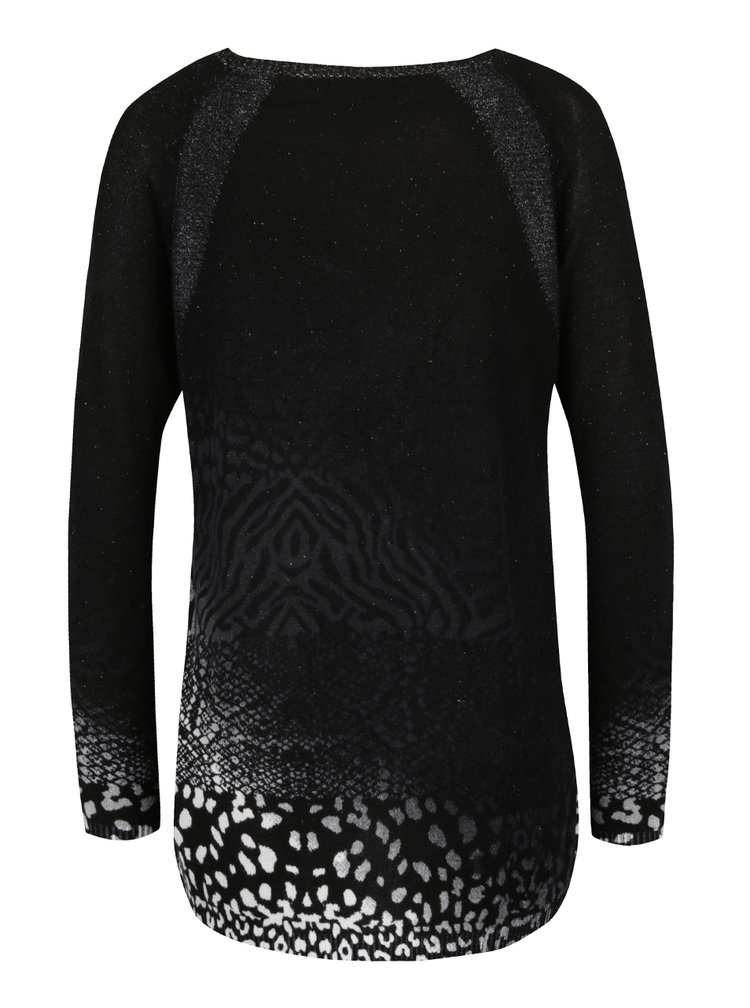 Pulover negru cu animal print  Desigual Pullover