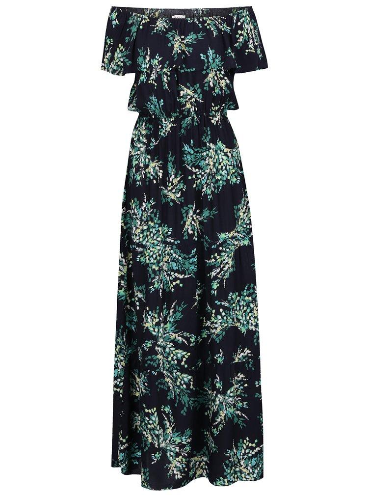 Tmavě modré květované maxišaty s odhalenými rameny Apricot