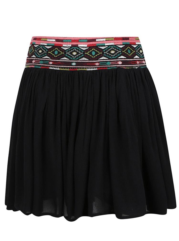 Černá sukně s ozdobným lemem Apricot
