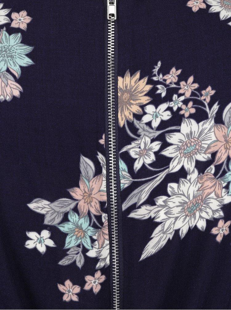Tmavě modré květované šaty s překládaným výstřihem Apricot