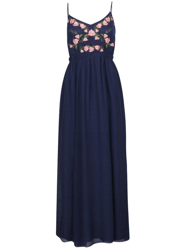 Tmavě modré maxišaty s výšivkami květin Apricot