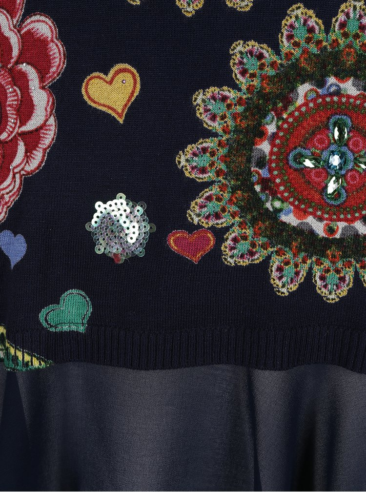 Rochie bleumarin cu motive etno multicolore Desigual Donovan