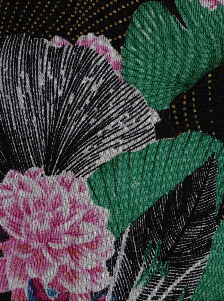 Květovaný svetr v černé, zelené a červené barvě Desigual Hawai