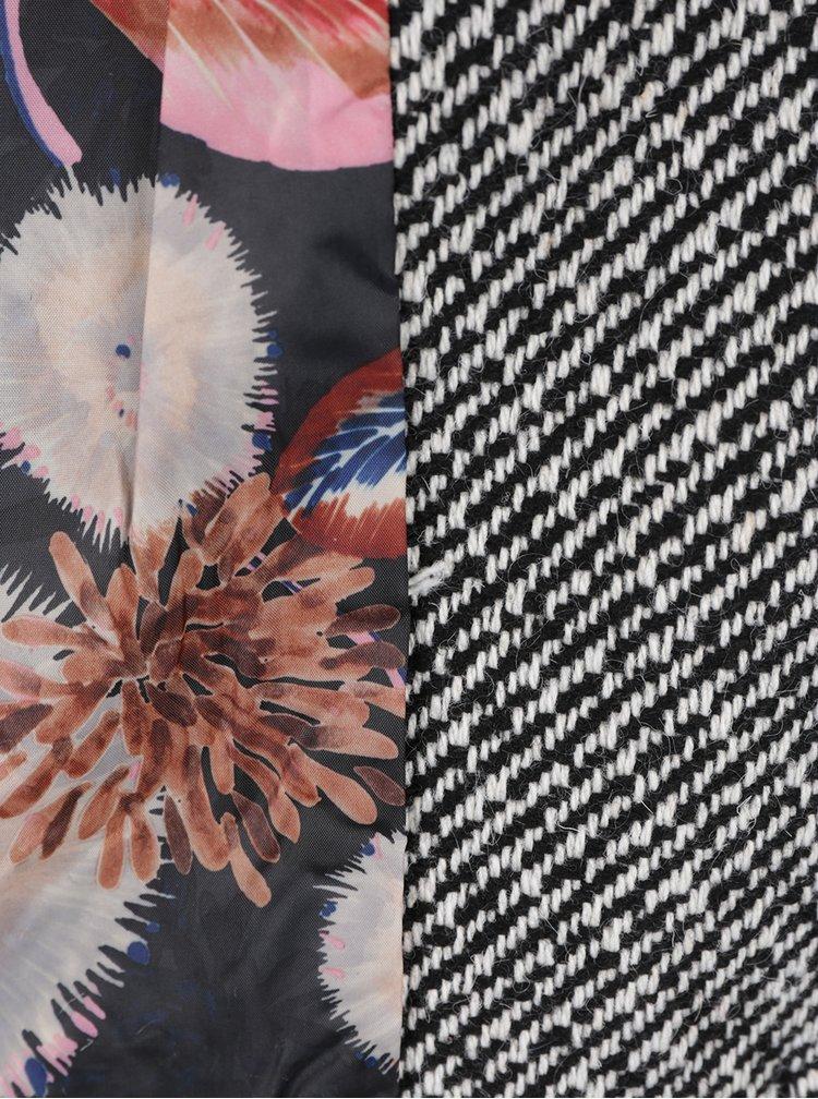 Šedý vzorovaný kabát s příměsí vlny Desigual Unale