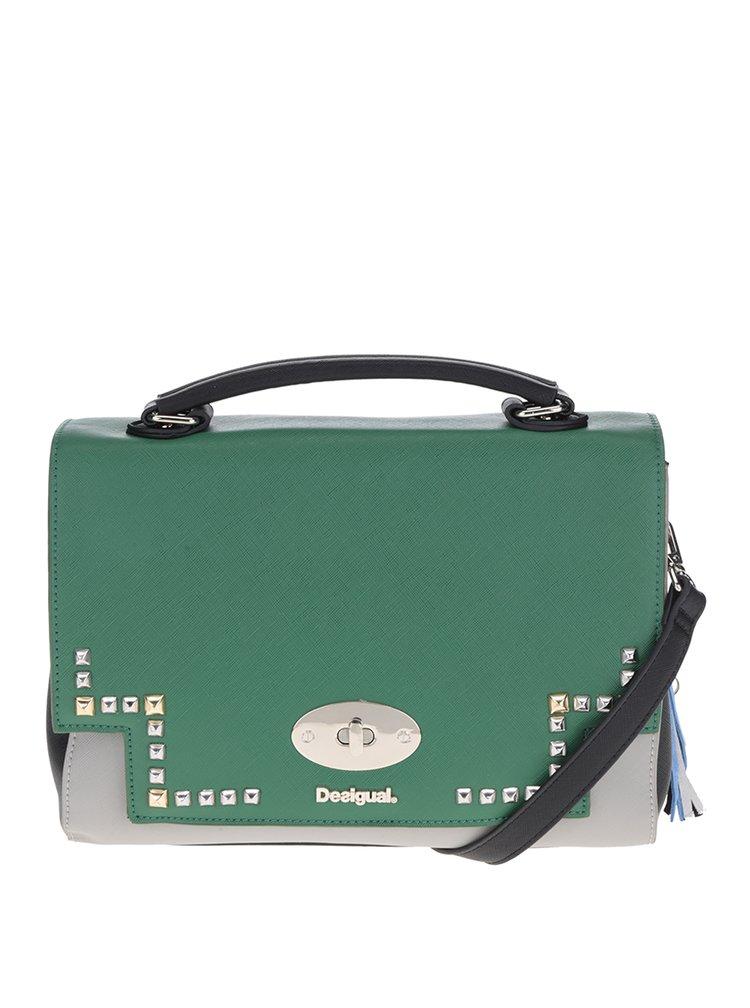 Modrá/zelená crossbody kabelka s vyměnitelnou klopou 2v1 Desigual Roma Tricolor