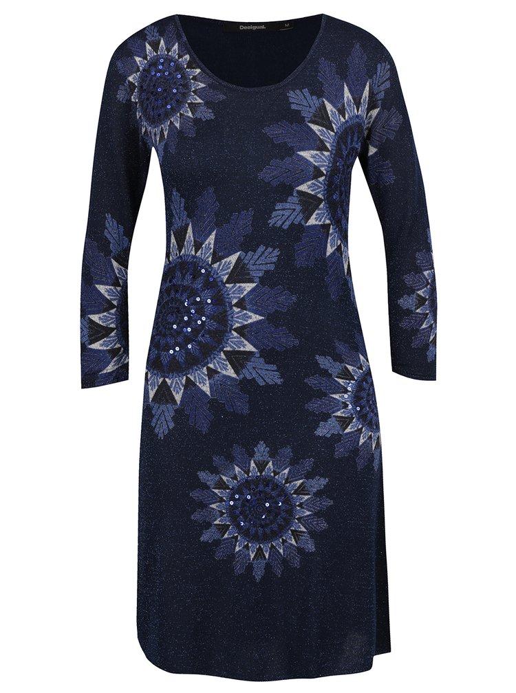 Tmavě modré vzorované svetrové šaty s odepínací šálou 2v1 Desigual Helen