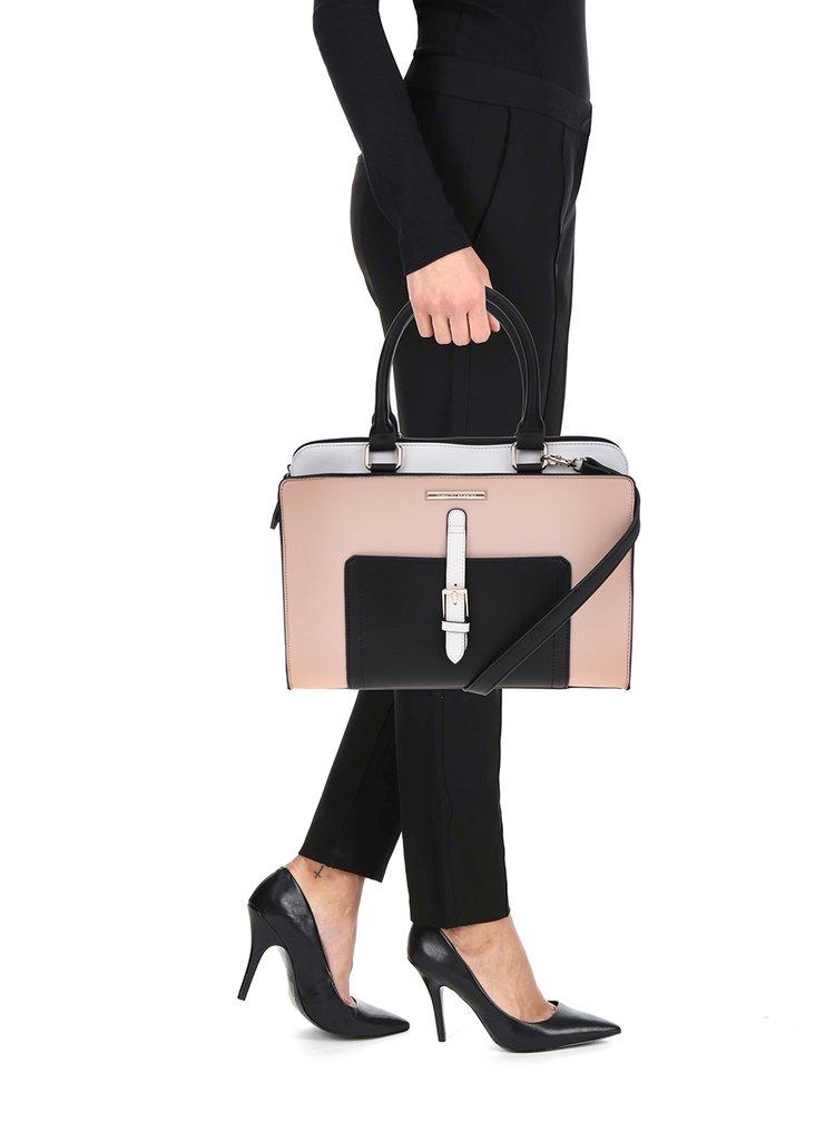 Černo-krémová kabelka s přední kapsou a přezkou Dorothy Perkins