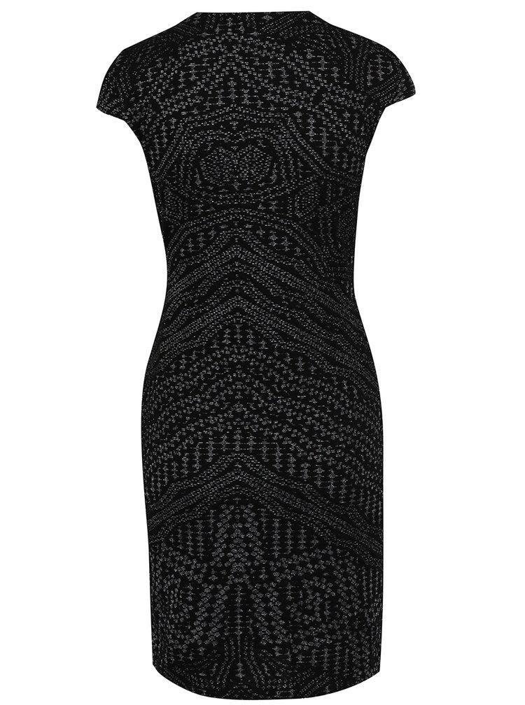 Rochie negru cu argintiu  cu model asimetric Desigual Anouk