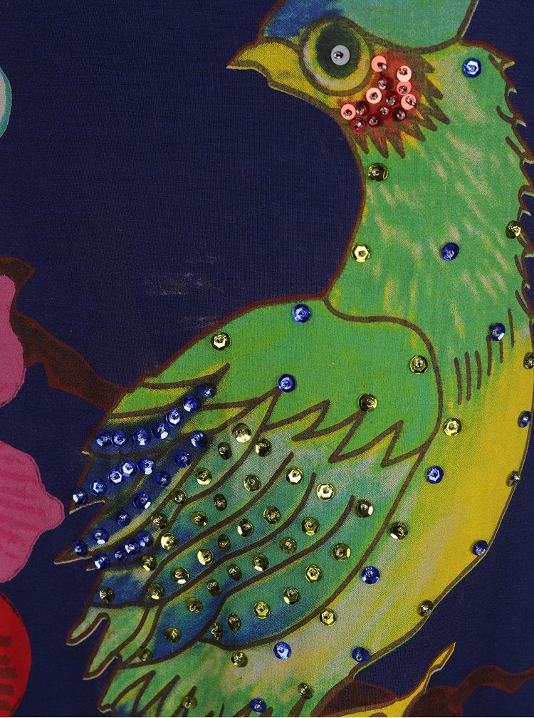 Rochie bleumarin cu print și paiete Desigual Nadia