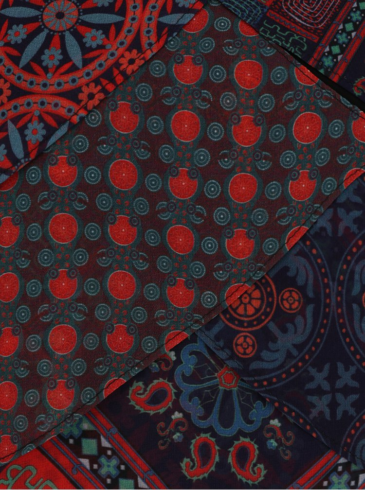 Červeno-černá vzorovaná halenka s překládáním Desigual Capas Birmania