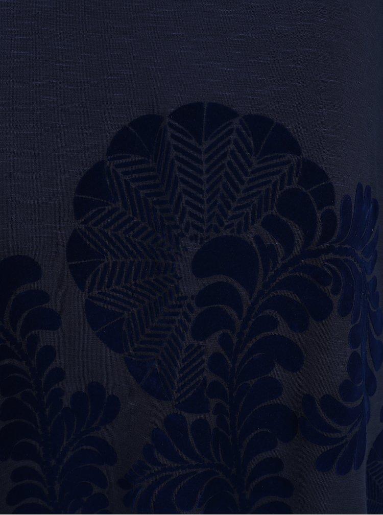 Tmavě modrá volná halenka se sametovými detaily  Desigual Sami