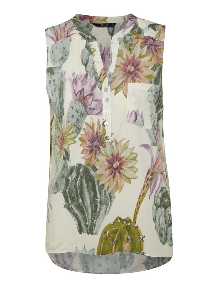 Krémová halenka bez rukávů s potiskem květin ONLY Nova